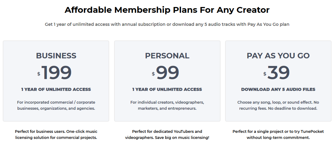 tunepocket pricing