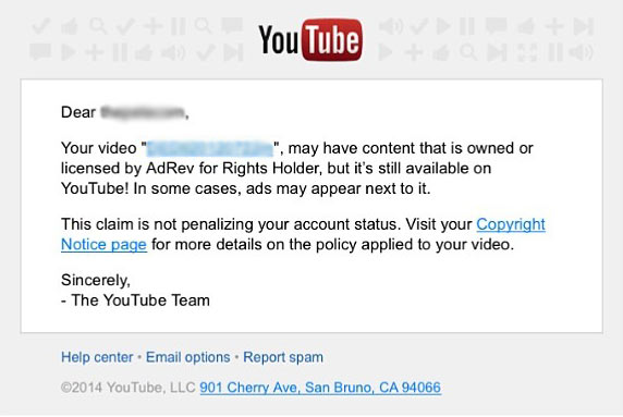 youtube adrev copyright claims notice